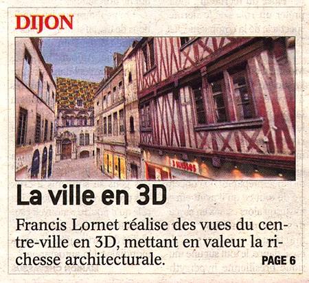 Article de presse concernant le projet Dijon 3D par Lornet-Design